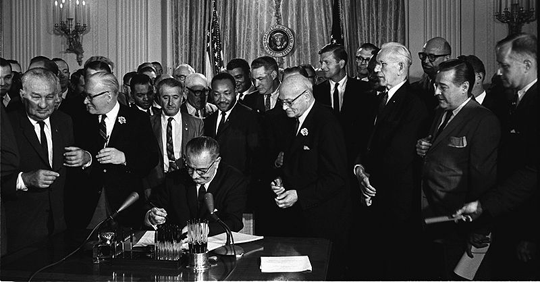 Signing the Civil Rights Act
